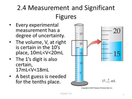 2.4 Measurement and Significant Figures Every experimental measurement has a degree of uncertainty. The volume, V, at right is certain in the 10's place,