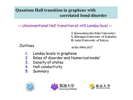 Quantum Hall transition in graphene with correlated bond disorder T. Kawarabayshi (Toho University) Y. Hatsugai (University of Tsukuba) H. Aoki (University.