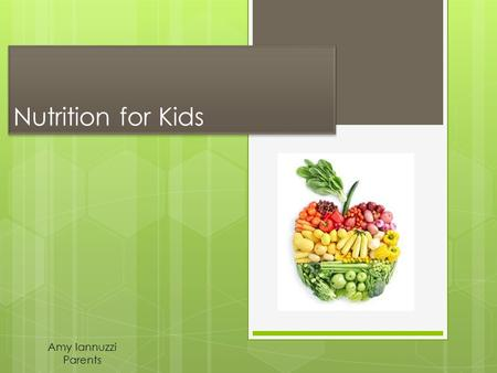Nutrition for Kids Amy Iannuzzi Parents Why is this important?  Linked to their growth and development  Promote better quality of life  Childhood.