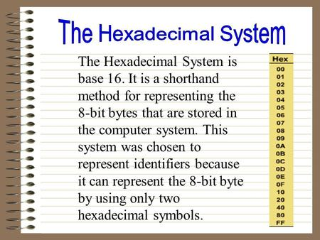 The Hexadecimal System is base 16. It is a shorthand method for representing the 8-bit bytes that are stored in the computer system. This system was chosen.