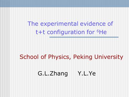The experimental evidence of t+t configuration for 6 He School of Physics, Peking University G.L.Zhang Y.L.Ye.