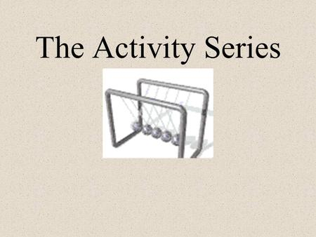 The Activity Series How Do We Know If a Reaction Will Occur?!? The Activity Series tells us what will and what will not react ACTIVITY SERIES: a ranking.