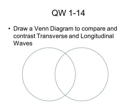 QW 1-14 Draw a Venn Diagram to compare and contrast Transverse and Longitudinal Waves.