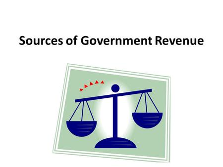Sources of Government Revenue. Payroll Deductions Taxes – government fees on business and individual income, activities, products or property. Medical.