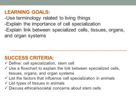 LEARNING GOALS: -Use terminology related to living things -Explain the importance of cell specialization -Explain link between specialized cells, tissues,