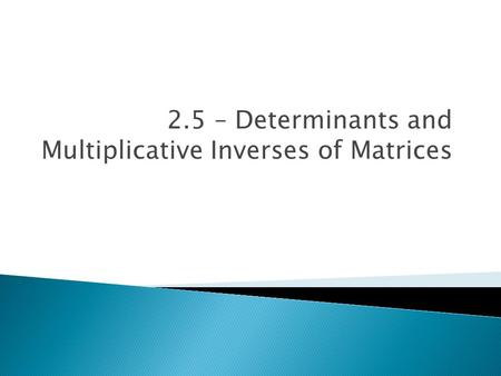 2.5 – Determinants and Multiplicative Inverses of Matrices.