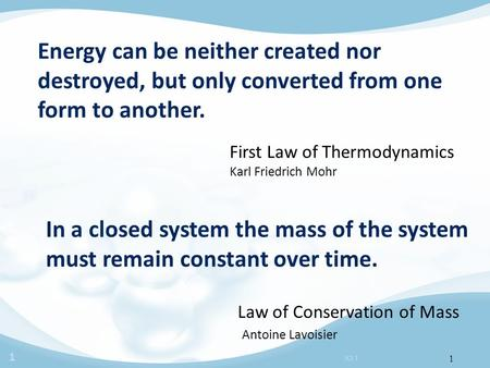 1 JCI 1 1 Energy can be neither created nor destroyed, but only converted from one form to another. First Law of Thermodynamics Karl Friedrich Mohr In.