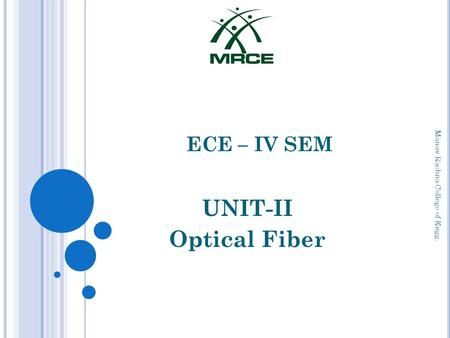 UNIT-II Optical Fiber ECE – IV SEM Manav Rachna College of Engg.