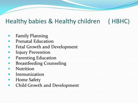 Healthy babies & Healthy children ( HBHC ) Family Planning Prenatal Education Fetal Growth and Development Injury Prevention Parenting Education Breastfeeding.