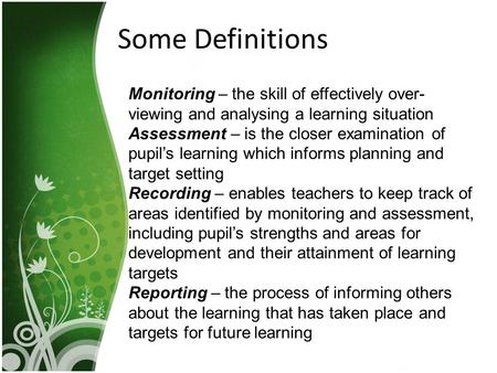 Some Definitions Monitoring – the skill of effectively over- viewing and analysing a learning situation Assessment – is the closer examination of pupil's.