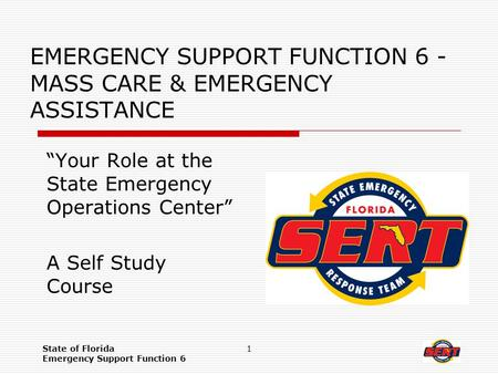 "State of Florida Emergency Support Function 6 1 EMERGENCY SUPPORT FUNCTION 6 - MASS CARE & EMERGENCY ASSISTANCE ""Your Role at the State Emergency Operations."