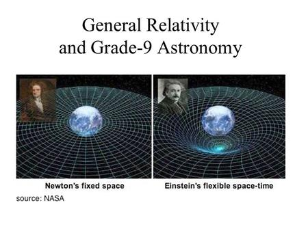 General Relativity and Grade-9 Astronomy. 0) Gravity causes time to slow down. Everyday Einstein: The GPS and Relativity OAPT Conference May 12 – 14 McMaster.