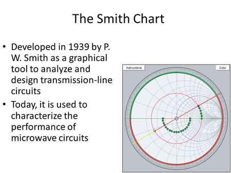 The Smith Chart Developed in 1939 by P. W. Smith as a graphical tool to analyze and design transmission-line circuits Today, it is used to characterize.