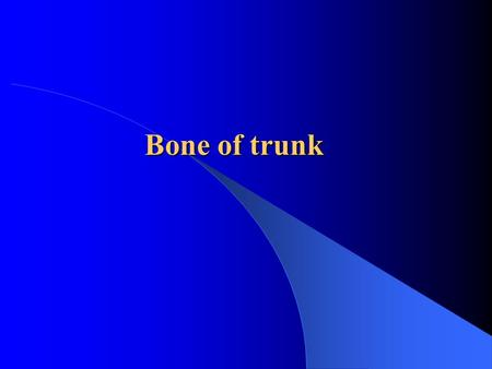 Bone of trunk. vertebrae vertebrae Bone of trunk rib sternum sternum Cervical Thoracic Lumbar Sacrum Coccyx.