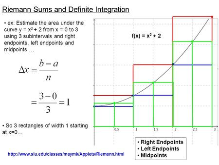 Riemann Sums and Definite Integration y = 6 y = x ex: Estimate the area under the curve y = x 2 + 2 from x = 0 to 3 using 3 subintervals and right endpoints,