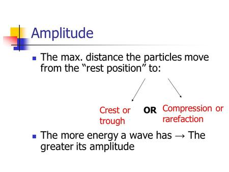 "Amplitude The max. distance the particles move from the ""rest position"" to: The more energy a wave has → The greater its amplitude Compression or rarefaction."
