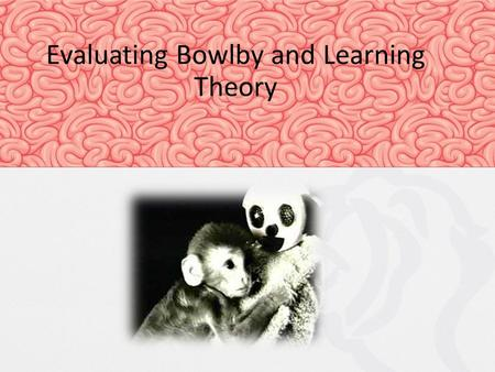 Evaluating Bowlby and Learning Theory. Learning Theory vs. Bowlby Today's objectives: To apply key research to Learning Theory and Bowlby's Theory and.