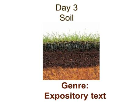 Day 3 Soil Genre: Expository text. Today we will learn: Amazing Words Phonics/Spelling: Diphthongs ou, ow, oi, oy Fluency: Read with Appropriate Phrasing.