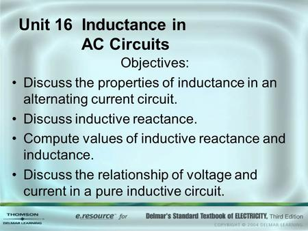 Unit 16 Inductance in AC Circuits