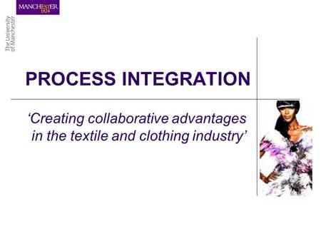 PROCESS INTEGRATION 'Creating collaborative advantages in the textile and clothing industry'