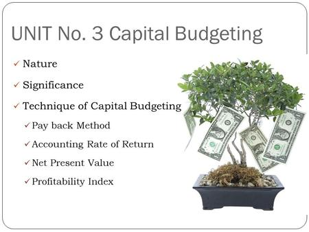 UNIT No. 3 Capital Budgeting Nature Significance Technique of Capital Budgeting Pay back Method Accounting Rate of Return Net Present Value Profitability.