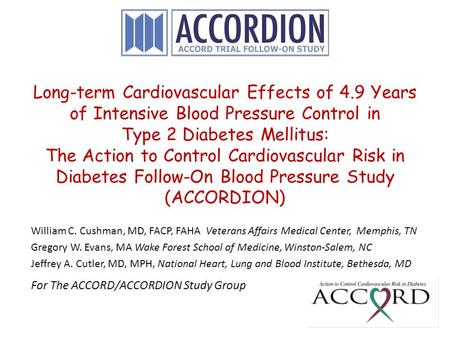 Long-term Cardiovascular Effects of 4.9 Years of Intensive Blood Pressure Control in Type 2 Diabetes Mellitus: The Action to Control Cardiovascular Risk.