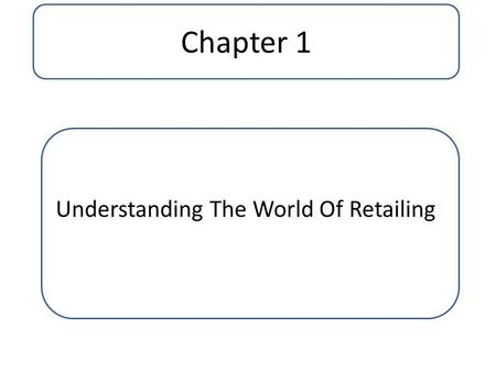 Understanding The World Of Retailing Chapter 1. What Is Retailing..? Retailing is the set of business activities that adds value to the products and services.