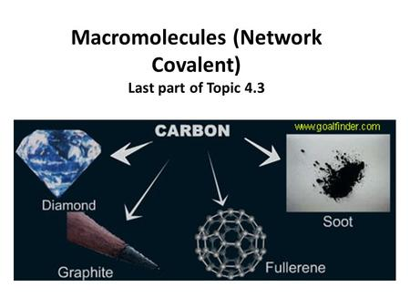 Macromolecules (Network Covalent) Last part of Topic 4.3.