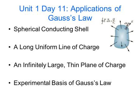 Unit 1 Day 11: Applications of Gauss's Law Spherical Conducting Shell A Long Uniform Line of Charge An Infinitely Large, Thin Plane of Charge Experimental.