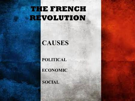 THE FRENCH REVOLUTION CAUSES POLITICAL ECONOMIC SOCIAL.