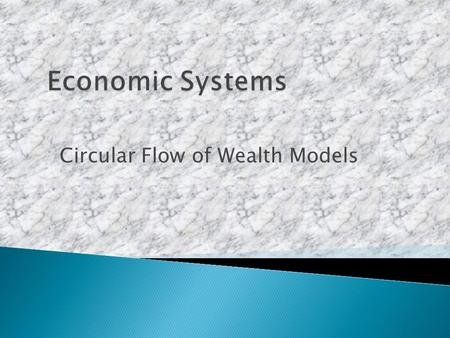 Circular Flow of Wealth Models. The entrepreneurs The businesses The productsThe people Wealth Left out: the government invest wealth: land, labor or.