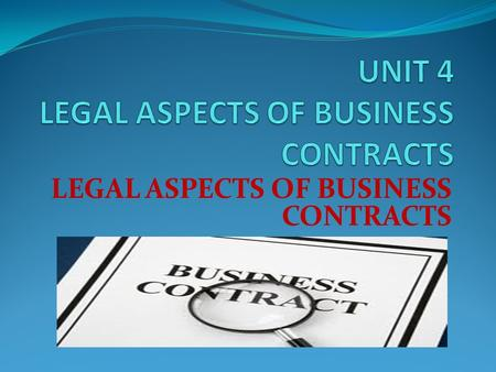 LEGAL ASPECTS OF BUSINESS CONTRACTS. Objectives I. Define a simple contract. II. Identify the seven (7) basic elements of a simple contract. III. State.