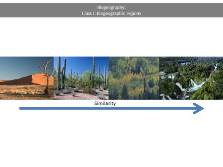 Biogeography: Class I: Biogeographic regions Similarity.