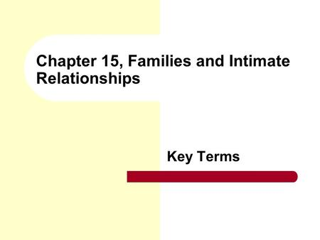 Chapter 15, Families and Intimate Relationships Key Terms.