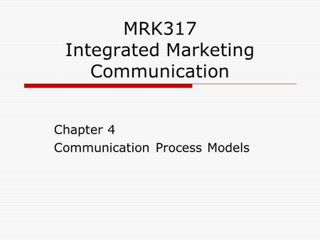 integrated marketing communication process pdf