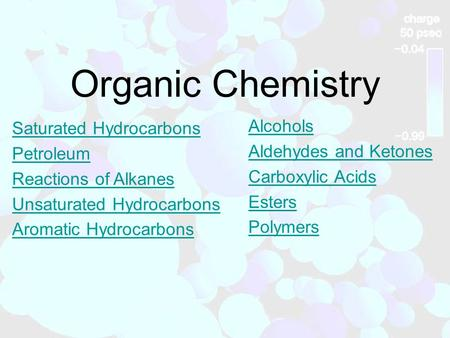 Organic Chemistry Saturated Hydrocarbons Petroleum Reactions of Alkanes Unsaturated Hydrocarbons Aromatic Hydrocarbons Alcohols Aldehydes and Ketones Carboxylic.