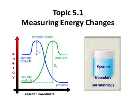 Topic 5.1 Measuring Energy Changes the conservation of energy is a fundamental principle of science – if a system loses energy, it must be gained by.