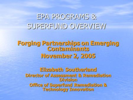 Forging Partnerships on Emerging Contaminants November 2, 2005 Elizabeth Southerland Director of Assessment & Remediation Division Office of Superfund.