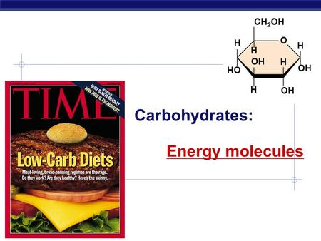 Biology I Carbohydrates: OH H H HO CH 2 OH H H H OH O Energy molecules.