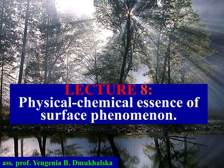 LECTURE 8: Physical-chemical essence of surface phenomenon. ass. prof. Yeugenia B. Dmukhalska.