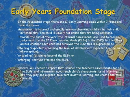 Early Years Foundation Stage