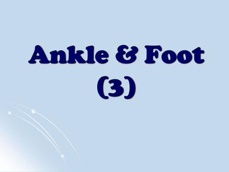 Ankle & Foot (3). Flexion: Metatarsophalangeal Joint.