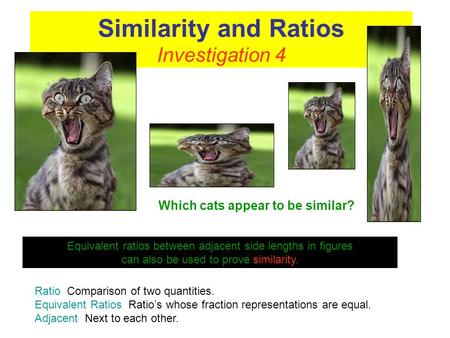 Similarity and Ratios Investigation 4 Equivalent ratios between adjacent side lengths in figures can also be used to prove similarity. Ratio Comparison.