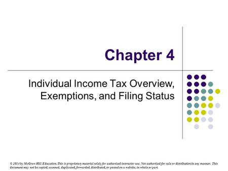 Individual Income Tax Overview, Exemptions, and Filing Status