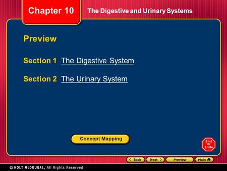 Chapter 10 The Digestive and Urinary Systems Preview Section 1 The Digestive SystemThe Digestive System Section 2 The Urinary SystemThe Urinary System.