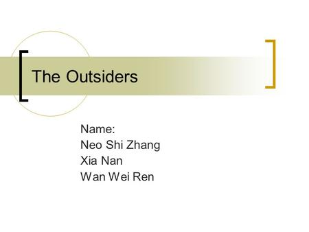 The Outsiders Name: Neo Shi Zhang Xia Nan Wan Wei Ren.