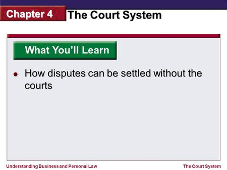 Understanding Business and Personal Law The Court System Chapter 4 The Court System What You'll Learn How disputes can be settled without the courts.