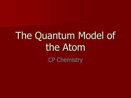 The Quantum Model of the Atom CP Chemistry. Louie de Broglie Proposed that all particles of matter that move exhibit wave like behavior (even a baseball!)