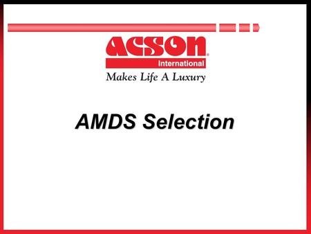 Page 1 AMDS Selection. Page 2 Contents Introduction Selection Consideration Selection Process Software Demonstration.