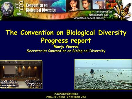 The Convention on Biological Diversity Progress report Marjo Vierros Secretariat Convention on Biological Diversity ICRI General Meeting Palau, 31 October.